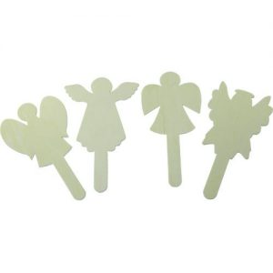 Angel shaped wooden craft sticks (pack of 4)